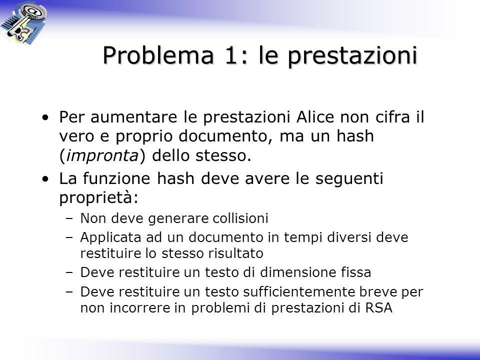 Problema 1: le prestazioni Per aumentare le prestazioni Alice non cifra il vero e proprio documento, ma un hash (impronta) dello stesso. La funzione h