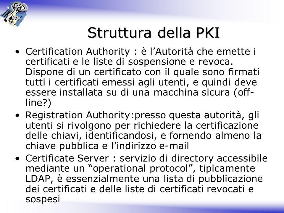 Struttura della PKI Certification Authority : è lAutorità che emette i certificati e le liste di sospensione e revoca. Dispone di un certificato con i