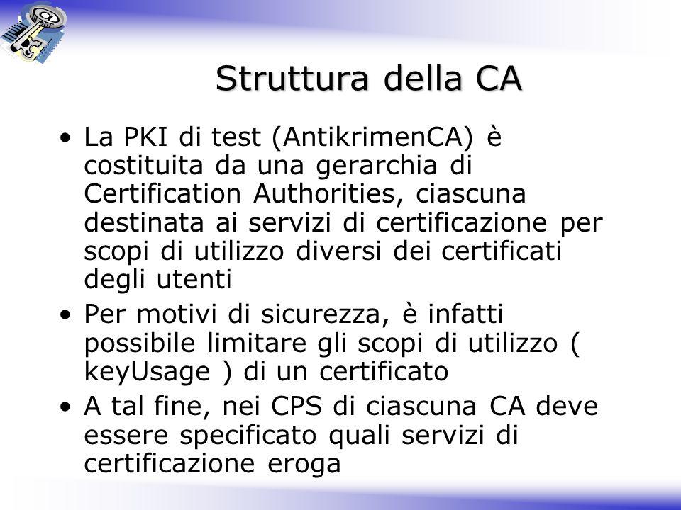 Struttura della CA La PKI di test (AntikrimenCA) è costituita da una gerarchia di Certification Authorities, ciascuna destinata ai servizi di certific