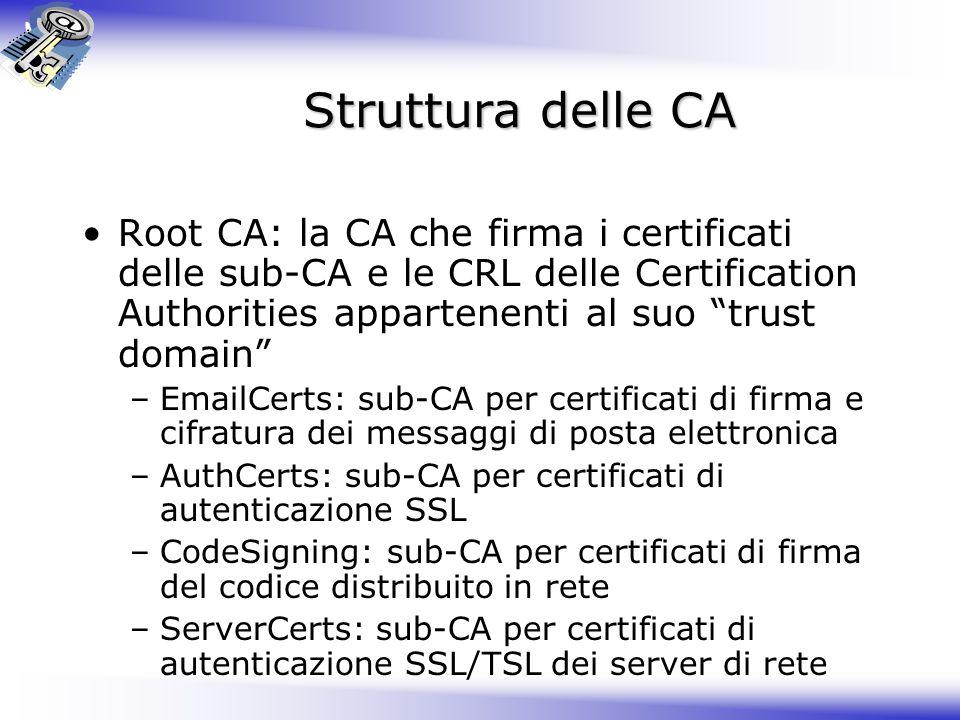 Struttura delle CA Root CA: la CA che firma i certificati delle sub-CA e le CRL delle Certification Authorities appartenenti al suo trust domain –Emai