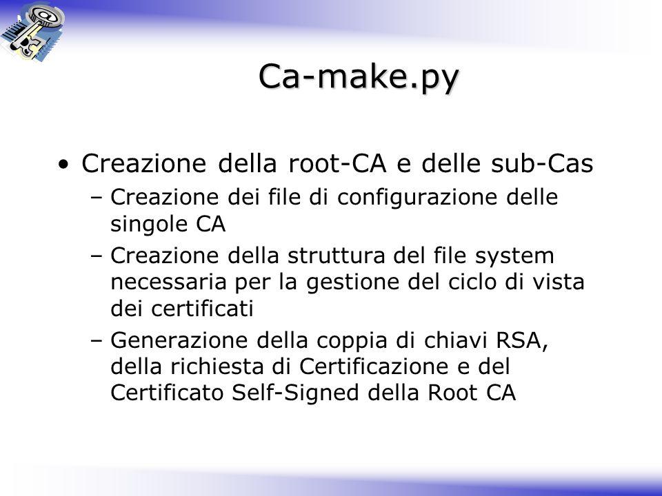 Ca-make.py Creazione della root-CA e delle sub-Cas –Creazione dei file di configurazione delle singole CA –Creazione della struttura del file system n