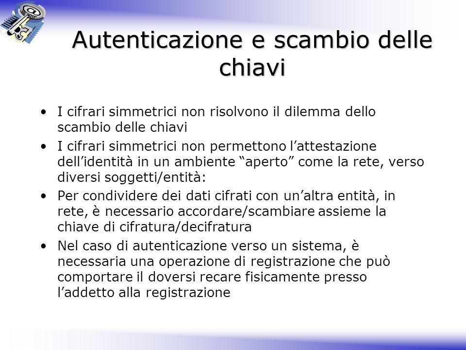 Autenticazione e scambio delle chiavi I cifrari simmetrici non risolvono il dilemma dello scambio delle chiavi I cifrari simmetrici non permettono lat