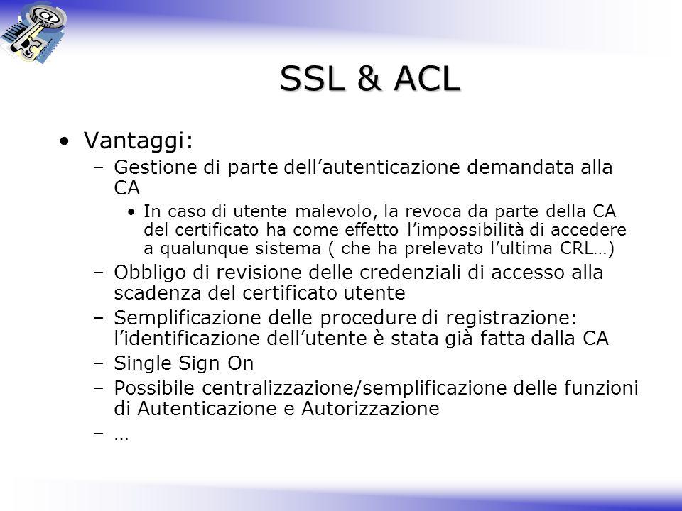 SSL & ACL Vantaggi: –Gestione di parte dellautenticazione demandata alla CA In caso di utente malevolo, la revoca da parte della CA del certificato ha