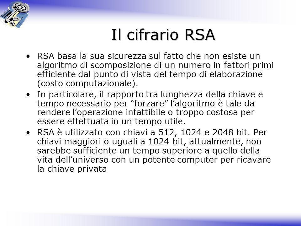 Il cifrario RSA RSA basa la sua sicurezza sul fatto che non esiste un algoritmo di scomposizione di un numero in fattori primi efficiente dal punto di