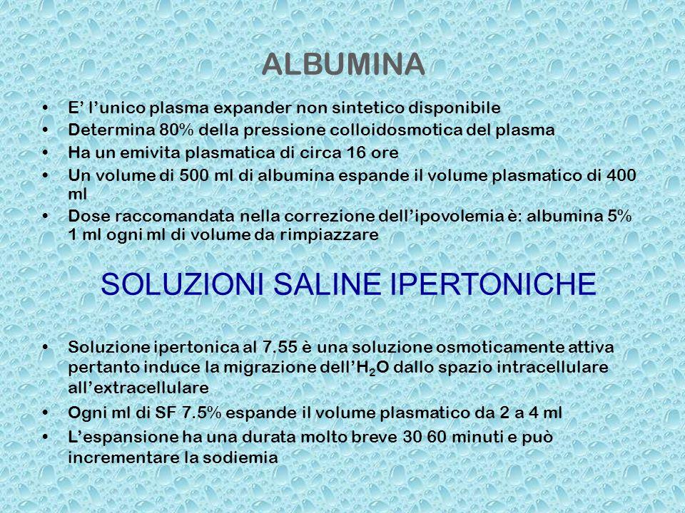 ALBUMINA E lunico plasma expander non sintetico disponibile Determina 80% della pressione colloidosmotica del plasma Ha un emivita plasmatica di circa
