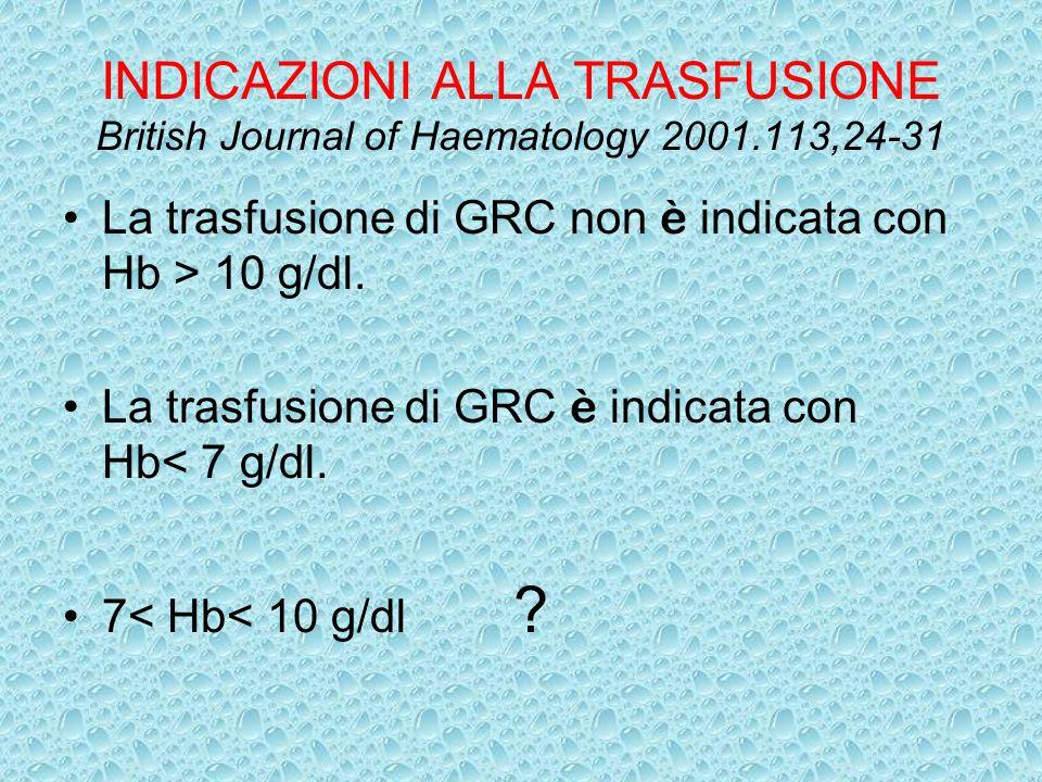 INDICAZIONI ALLA TRASFUSIONE British Journal of Haematology 2001.113,24-31 La trasfusione di GRC non è indicata con Hb > 10 g/dl. La trasfusione di GR