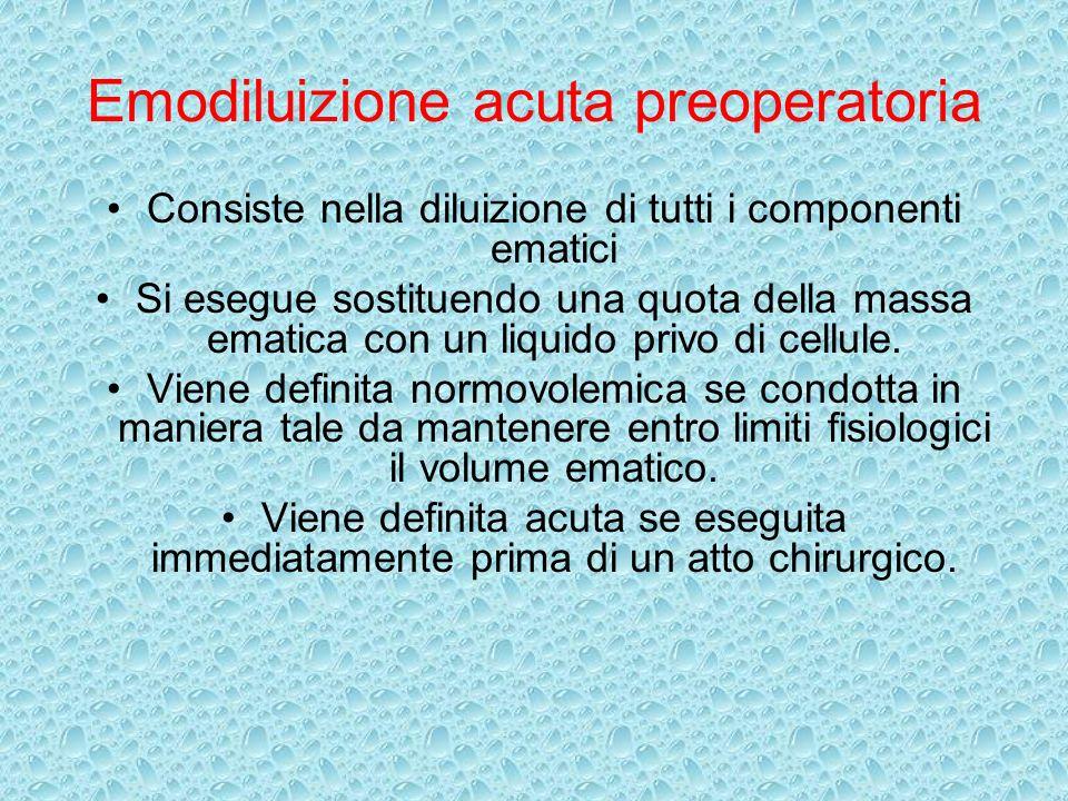 Emodiluizione acuta preoperatoria Consiste nella diluizione di tutti i componenti ematici Si esegue sostituendo una quota della massa ematica con un l