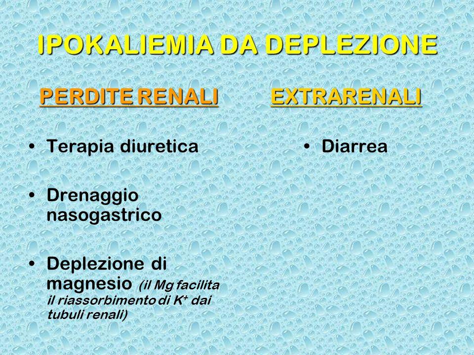 IPOKALIEMIA DA DEPLEZIONE PERDITE RENALI Terapia diuretica Drenaggio nasogastrico Deplezione di magnesio (il Mg facilita il riassorbimento di K + dai