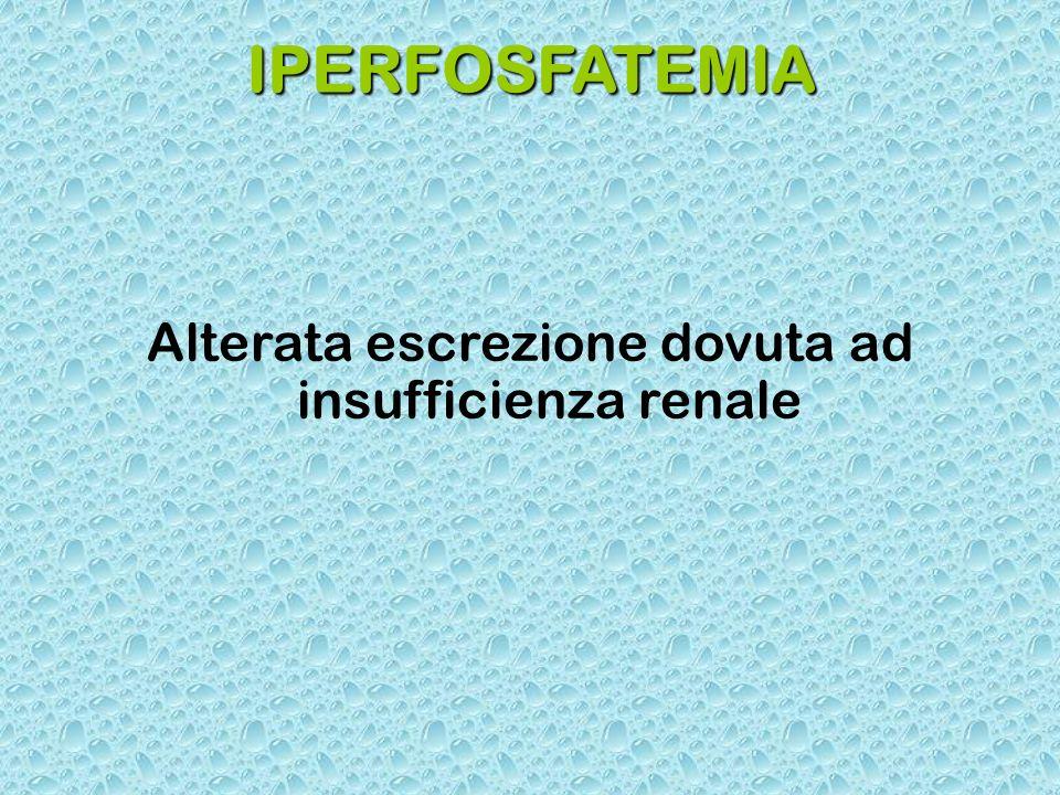 IPERFOSFATEMIA Alterata escrezione dovuta ad insufficienza renale