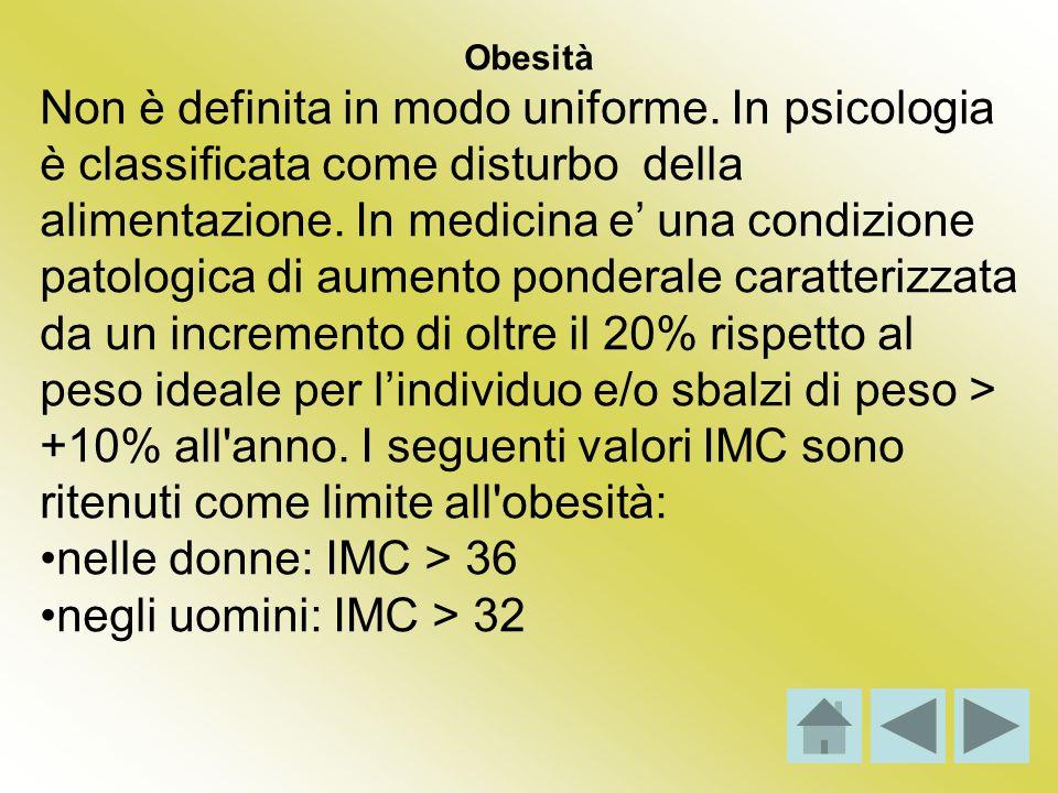 Obesità Non è definita in modo uniforme. In psicologia è classificata come disturbo della alimentazione. In medicina e una condizione patologica di au