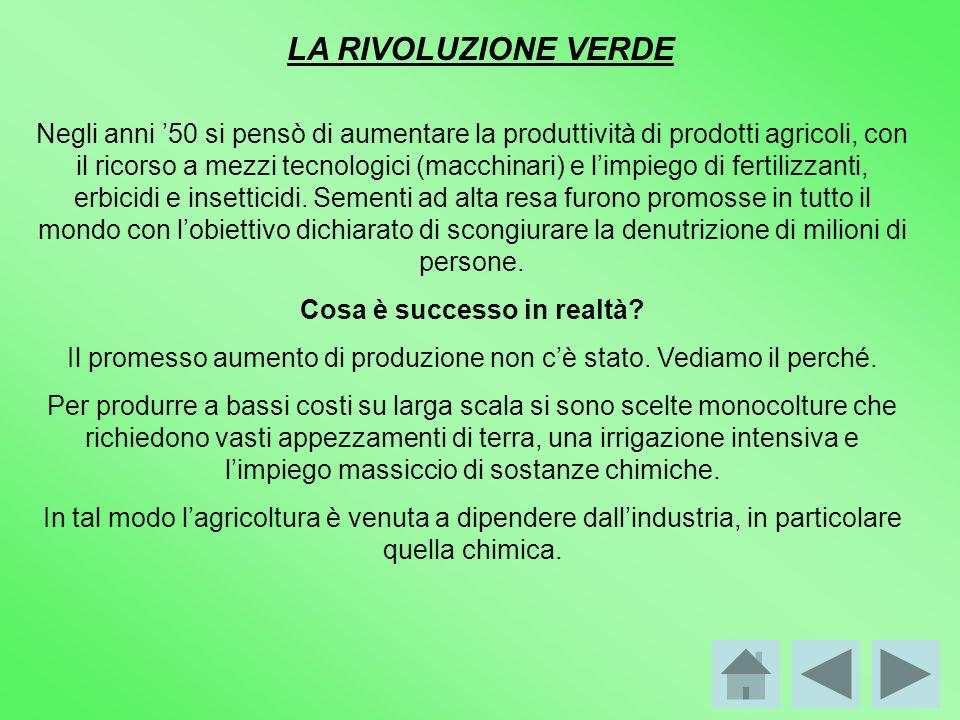 LA RIVOLUZIONE VERDE Negli anni 50 si pensò di aumentare la produttività di prodotti agricoli, con il ricorso a mezzi tecnologici (macchinari) e limpi