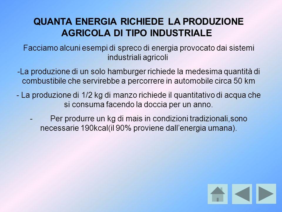 QUANTA ENERGIA RICHIEDE LA PRODUZIONE AGRICOLA DI TIPO INDUSTRIALE Facciamo alcuni esempi di spreco di energia provocato dai sistemi industriali agric