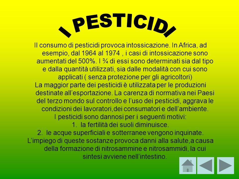 Il consumo di pesticidi provoca intossicazione. In Africa, ad esempio, dal 1964 al 1974, i casi di intossicazione sono aumentati del 500%. I ¾ di essi