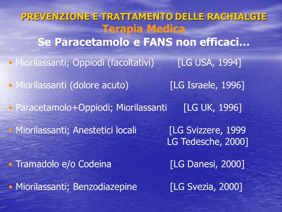 PREVENZIONE E TRATTAMENTO DELLE RACHIALGIE PREVENZIONE E TRATTAMENTO DELLE RACHIALGIE Terapia Medica Se Paracetamolo e FANS non efficaci… Miorilassant