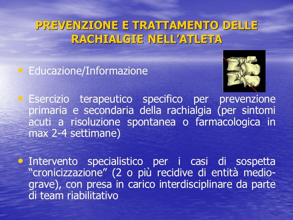 PREVENZIONE E TRATTAMENTO DELLE RACHIALGIE NELLATLETA Educazione/Informazione Esercizio terapeutico specifico per prevenzione primaria e secondaria de