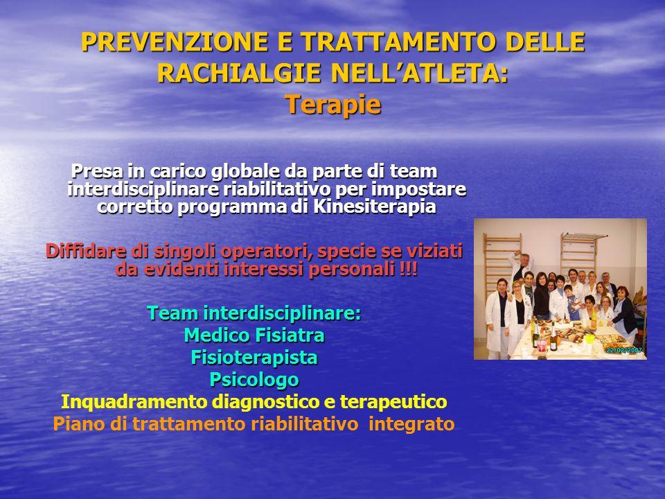 PREVENZIONE E TRATTAMENTO DELLE RACHIALGIE NELLATLETA: Terapie Presa in carico globale da parte di team interdisciplinare riabilitativo per impostare