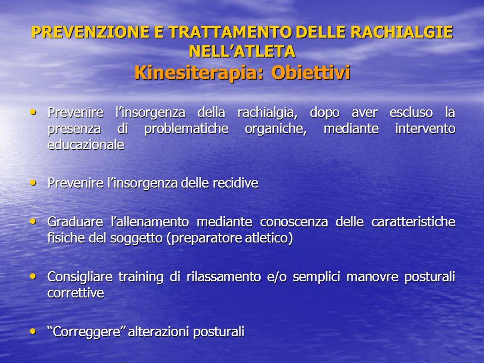 PREVENZIONE E TRATTAMENTO DELLE RACHIALGIE NELLATLETA Kinesiterapia: Obiettivi Prevenire linsorgenza della rachialgia, dopo aver escluso la presenza d