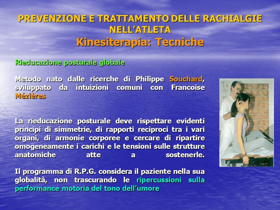 PREVENZIONE E TRATTAMENTO DELLE RACHIALGIE NELLATLETA Kinesiterapia: Tecniche Rieducazione posturale globale Metodo nato dalle ricerche di Philippe So