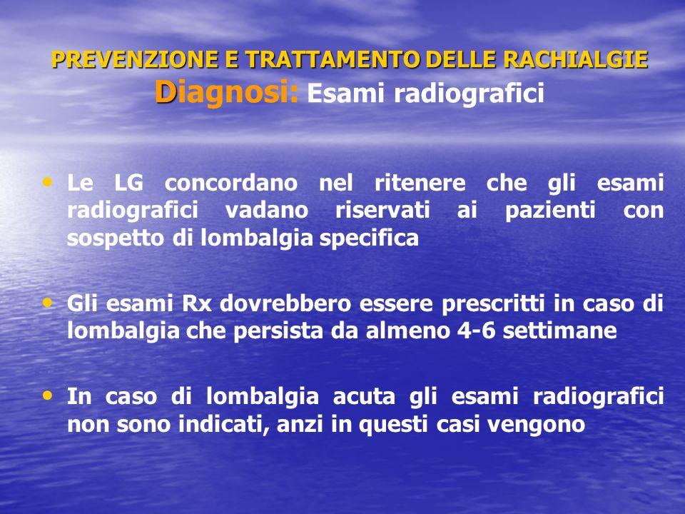 PREVENZIONE E TRATTAMENTO DELLE RACHIALGIE D PREVENZIONE E TRATTAMENTO DELLE RACHIALGIE Diagnosi: Esami radiografici Le LG concordano nel ritenere che