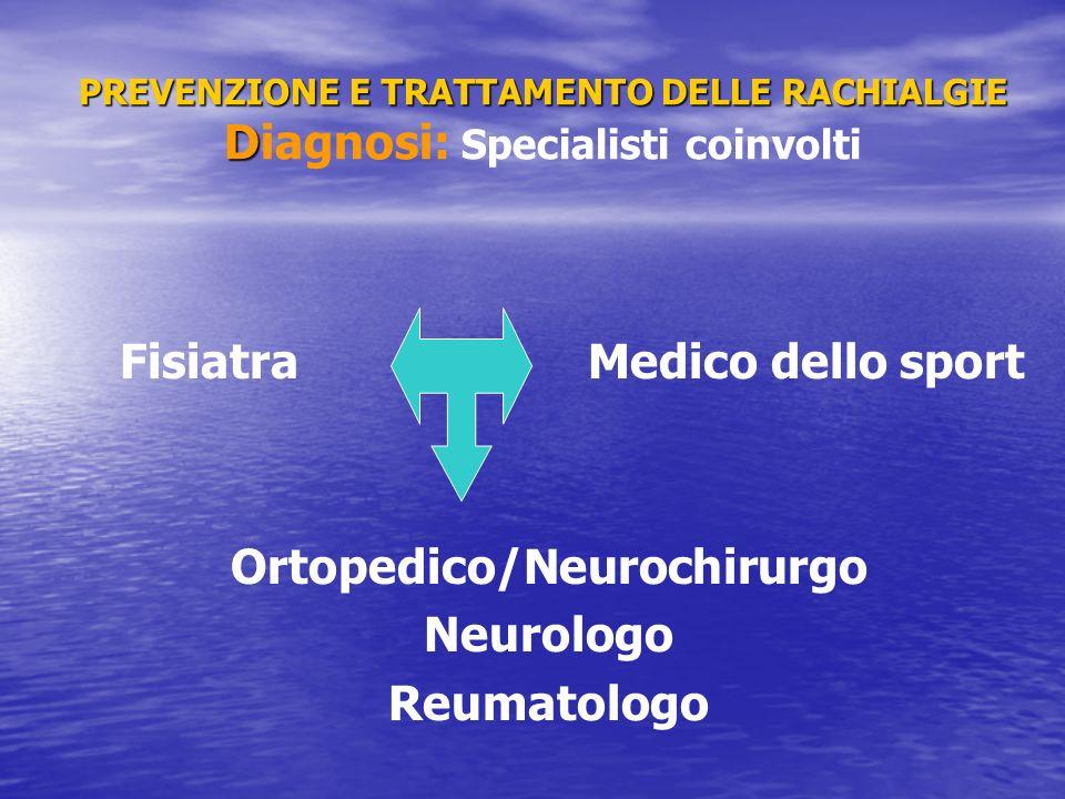 PREVENZIONE E TRATTAMENTO DELLE RACHIALGIE D PREVENZIONE E TRATTAMENTO DELLE RACHIALGIE Diagnosi: Specialisti coinvolti Fisiatra Medico dello sport Or