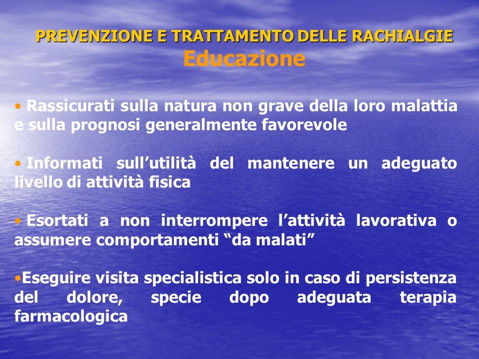 PREVENZIONE E TRATTAMENTO DELLE RACHIALGIE PREVENZIONE E TRATTAMENTO DELLE RACHIALGIE Terapia Medica Paracetamolo (2-3 g/die) FANS (os.