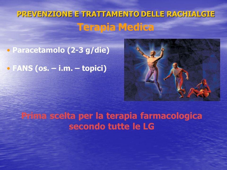 PREVENZIONE E TRATTAMENTO DELLE RACHIALGIE PREVENZIONE E TRATTAMENTO DELLE RACHIALGIE Terapia Medica Paracetamolo (2-3 g/die) FANS (os. – i.m. – topic