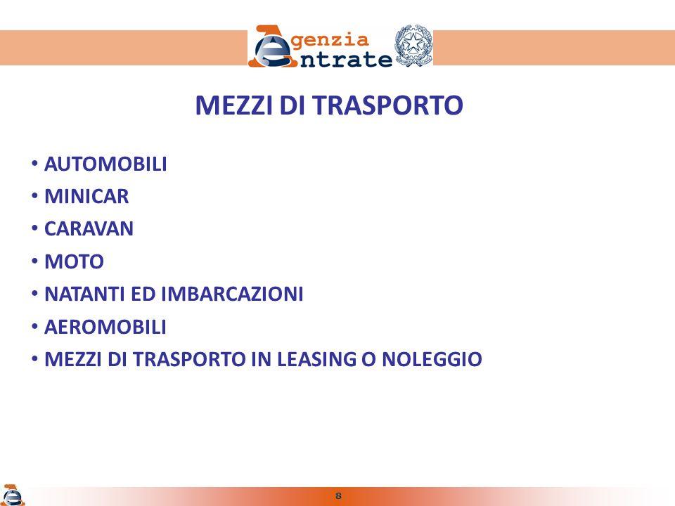 8 MEZZI DI TRASPORTO AUTOMOBILI MINICAR CARAVAN MOTO NATANTI ED IMBARCAZIONI AEROMOBILI MEZZI DI TRASPORTO IN LEASING O NOLEGGIO