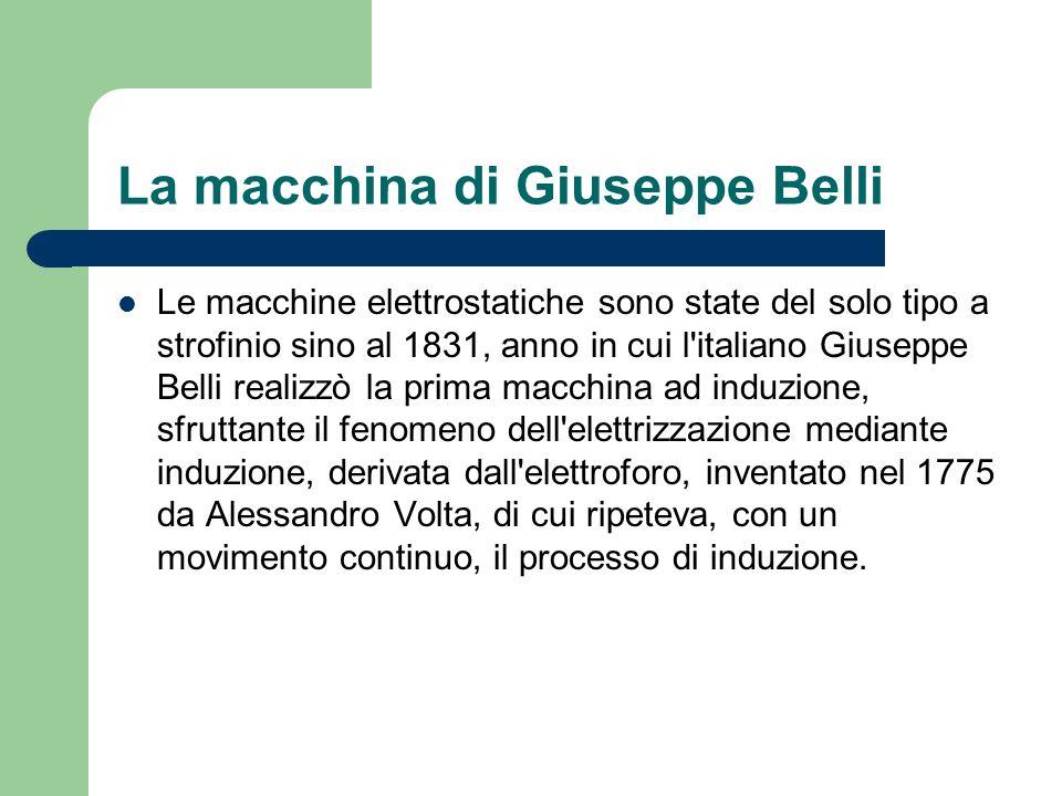 La macchina di Giuseppe Belli Le macchine elettrostatiche sono state del solo tipo a strofinio sino al 1831, anno in cui l'italiano Giuseppe Belli rea