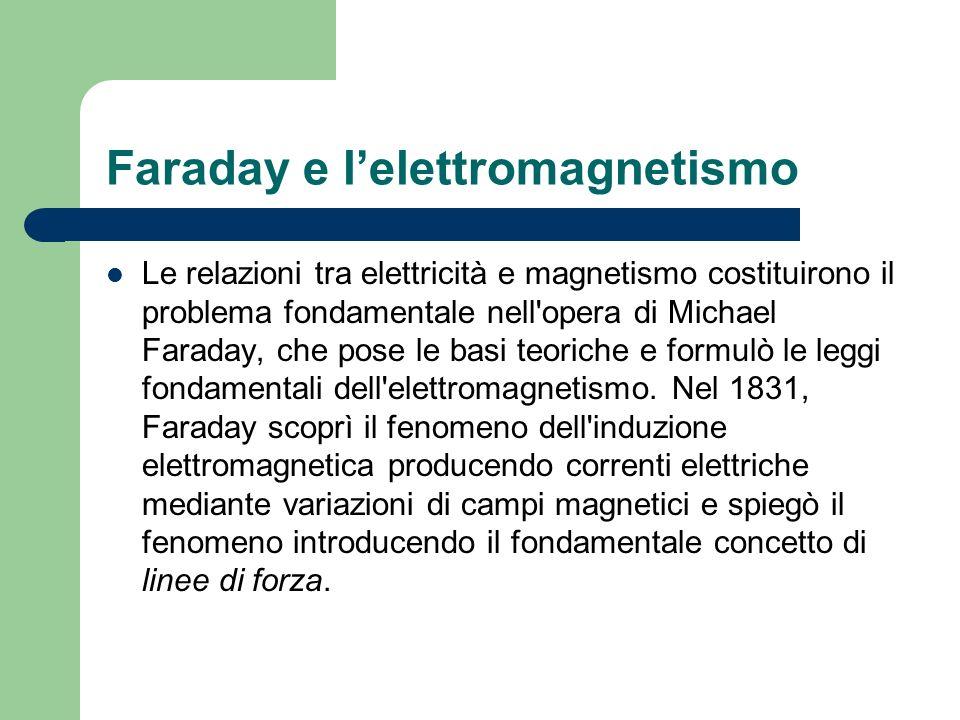 Faraday e lelettromagnetismo Le relazioni tra elettricità e magnetismo costituirono il problema fondamentale nell'opera di Michael Faraday, che pose l