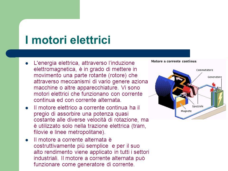 I motori elettrici L'energia elettrica, attraverso linduzione elettromagnetica, è in grado di mettere in movimento una parte rotante (rotore) che attr