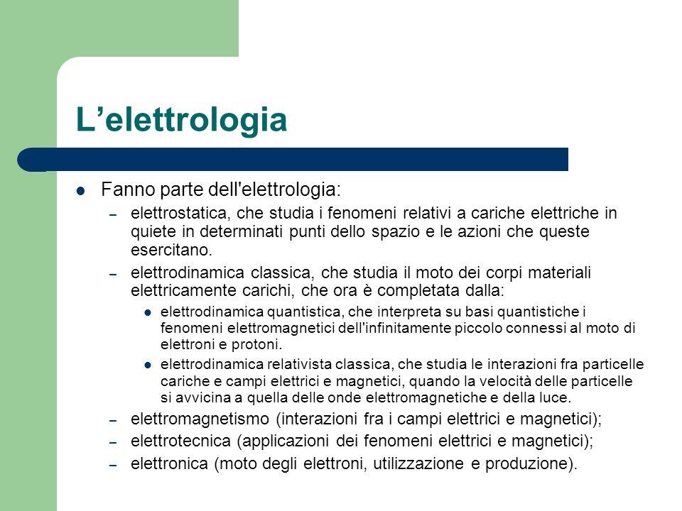 Lelettrologia Fanno parte dell'elettrologia: – elettrostatica, che studia i fenomeni relativi a cariche elettriche in quiete in determinati punti dell