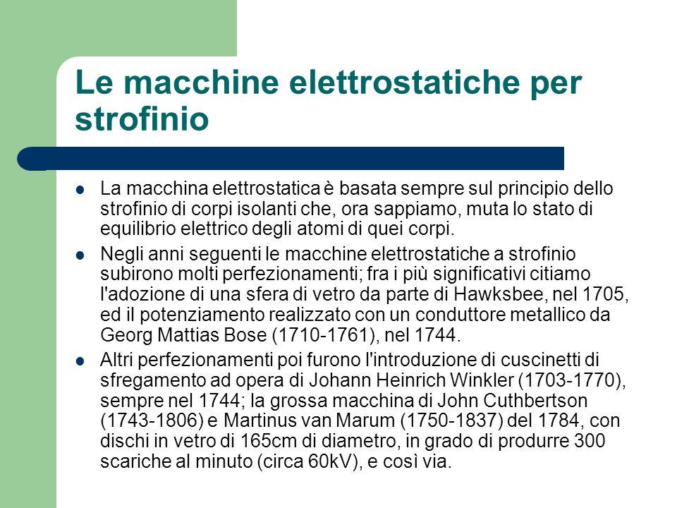 La macchina di Giuseppe Belli Le macchine elettrostatiche sono state del solo tipo a strofinio sino al 1831, anno in cui l italiano Giuseppe Belli realizzò la prima macchina ad induzione, sfruttante il fenomeno dell elettrizzazione mediante induzione, derivata dall elettroforo, inventato nel 1775 da Alessandro Volta, di cui ripeteva, con un movimento continuo, il processo di induzione.