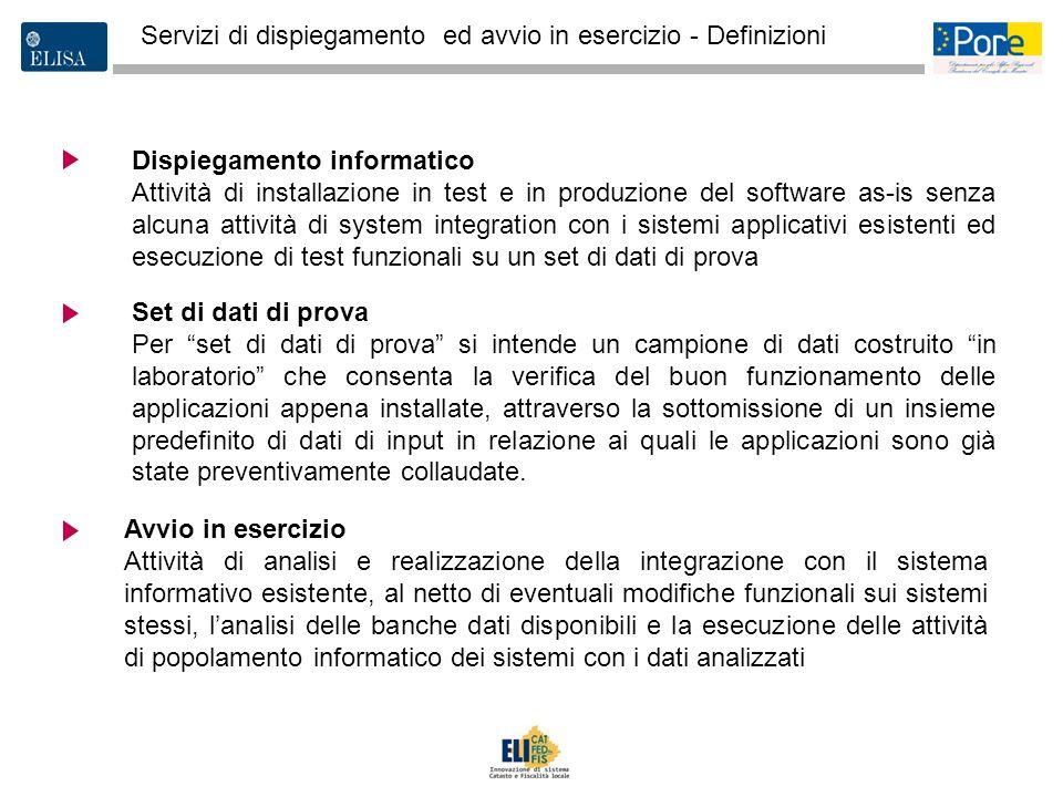 3 Dispiegamento informatico Attività di installazione in test e in produzione del software as-is senza alcuna attività di system integration con i sis