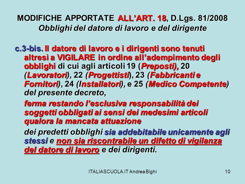 ITALIASCUOLA.IT Andrea Bighi10 MODIFICHE APPORTATE ALLART.