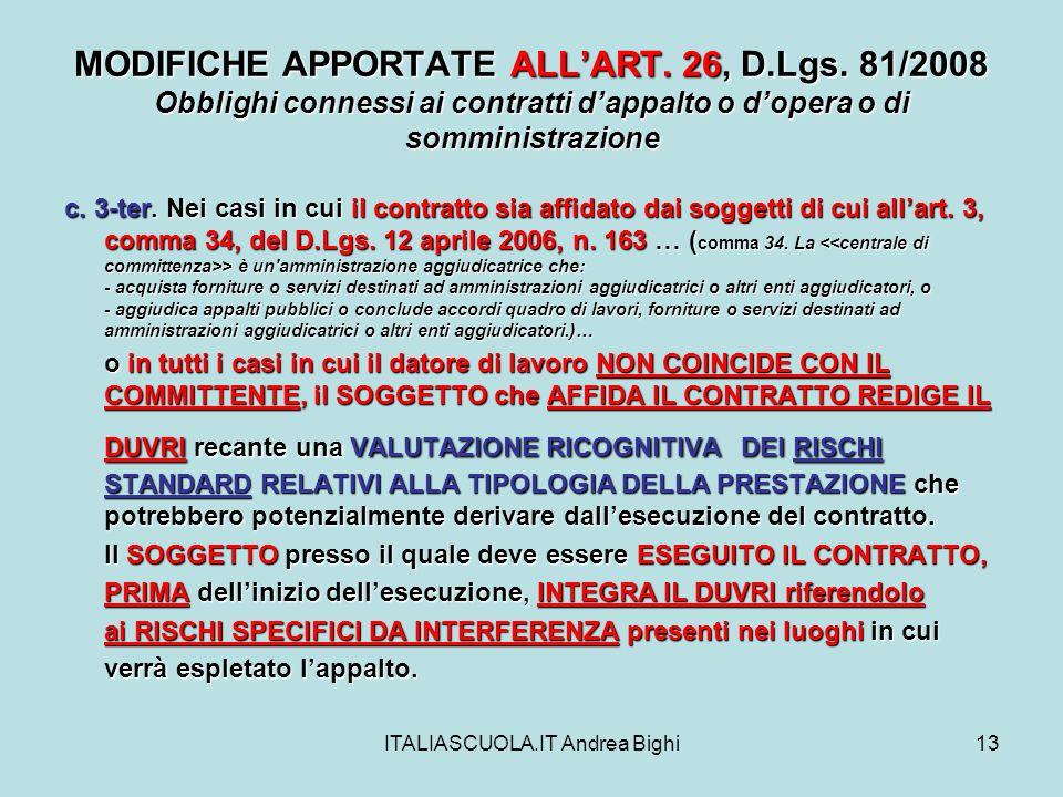 ITALIASCUOLA.IT Andrea Bighi13 MODIFICHE APPORTATE ALLART.