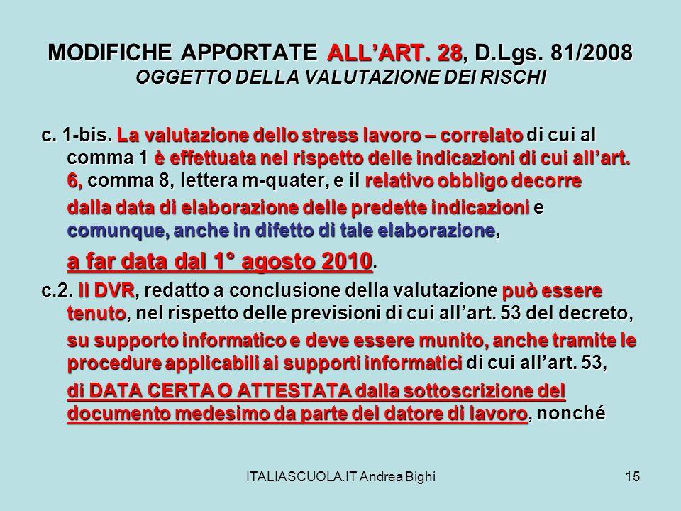 ITALIASCUOLA.IT Andrea Bighi15 MODIFICHE APPORTATE ALLART.
