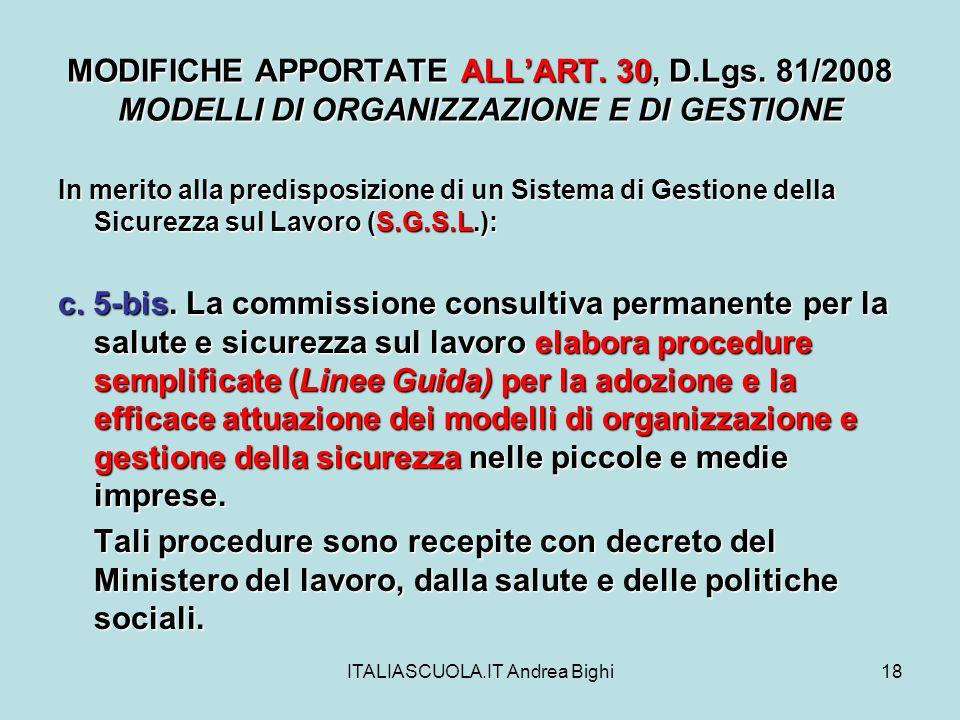 ITALIASCUOLA.IT Andrea Bighi18 MODIFICHE APPORTATE ALLART.