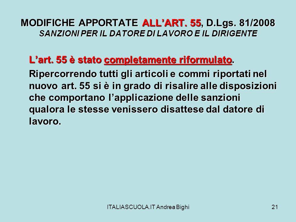 ITALIASCUOLA.IT Andrea Bighi21 MODIFICHE APPORTATE ALLART.