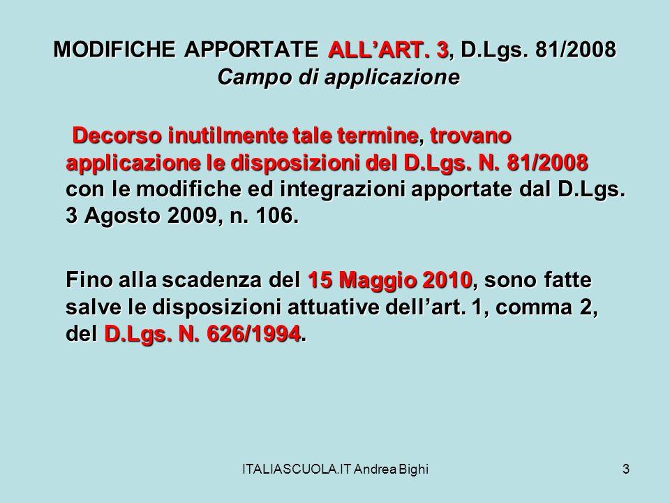 ITALIASCUOLA.IT Andrea Bighi4 MODIFICHE APPORTATE ALLART.