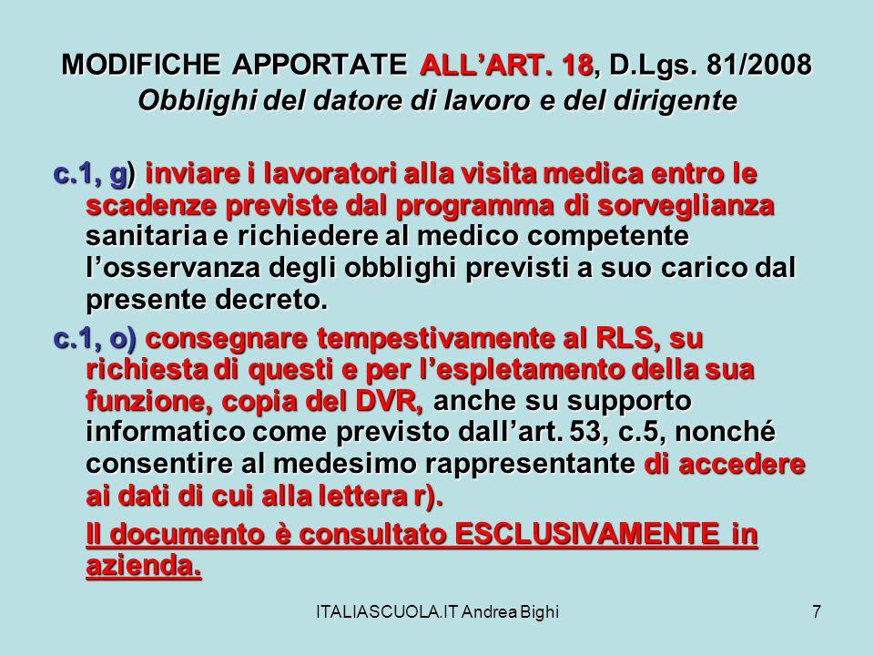 ITALIASCUOLA.IT Andrea Bighi8 MODIFICHE APPORTATE ALLART.