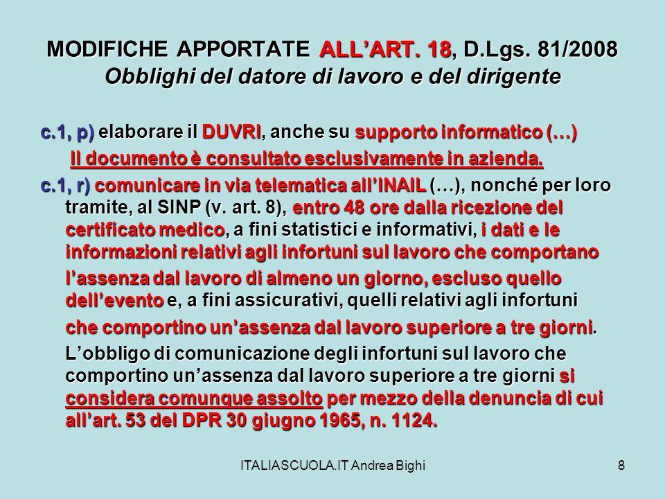 ITALIASCUOLA.IT Andrea Bighi9 MODIFICHE APPORTATE ALLART.