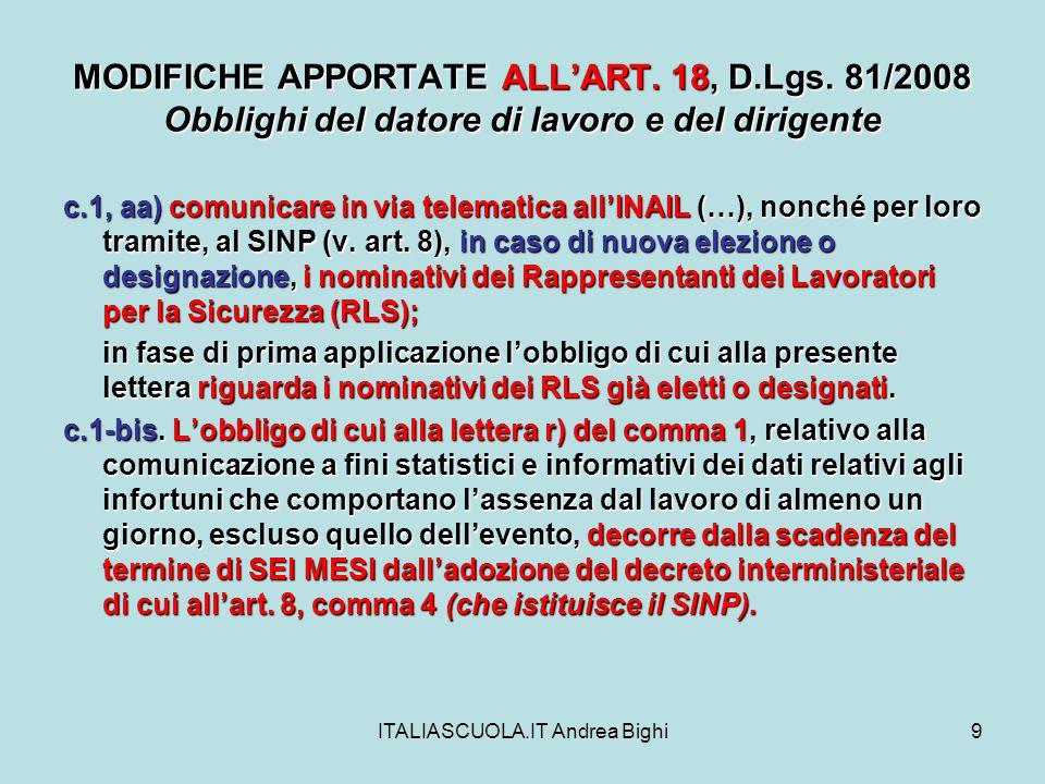 ITALIASCUOLA.IT Andrea Bighi20 MODIFICHE APPORTATE ALLART.