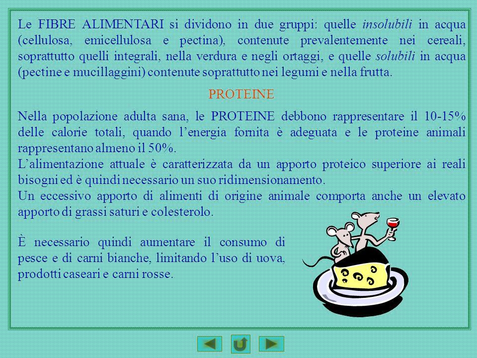 Le FIBRE ALIMENTARI si dividono in due gruppi: quelle insolubili in acqua (cellulosa, emicellulosa e pectina), contenute prevalentemente nei cereali,
