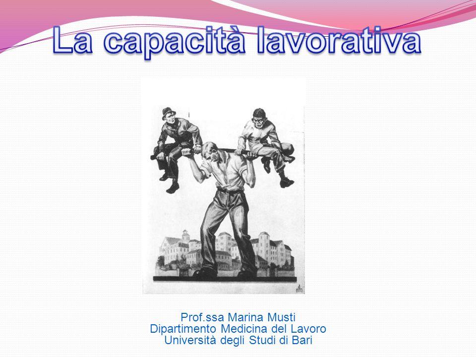 Prof.ssa Marina Musti Dipartimento Medicina del Lavoro Università degli Studi di Bari