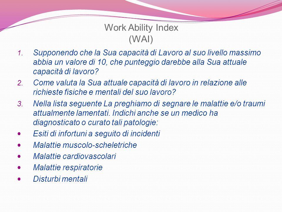 Work Ability Index (WAI) 1. Supponendo che la Sua capacità di Lavoro al suo livello massimo abbia un valore di 10, che punteggio darebbe alla Sua attu