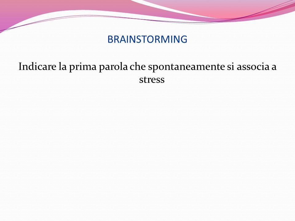 BRAINSTORMING Indicare la prima parola che spontaneamente si associa a stress