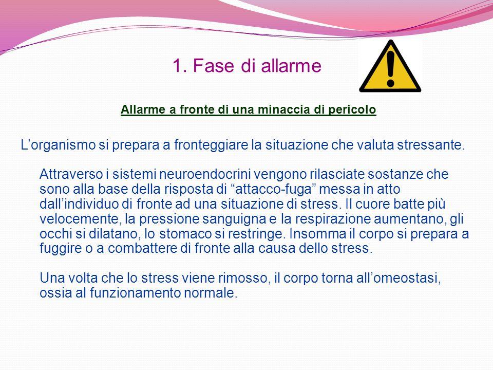 1. Fase di allarme Lorganismo si prepara a fronteggiare la situazione che valuta stressante. Attraverso i sistemi neuroendocrini vengono rilasciate so
