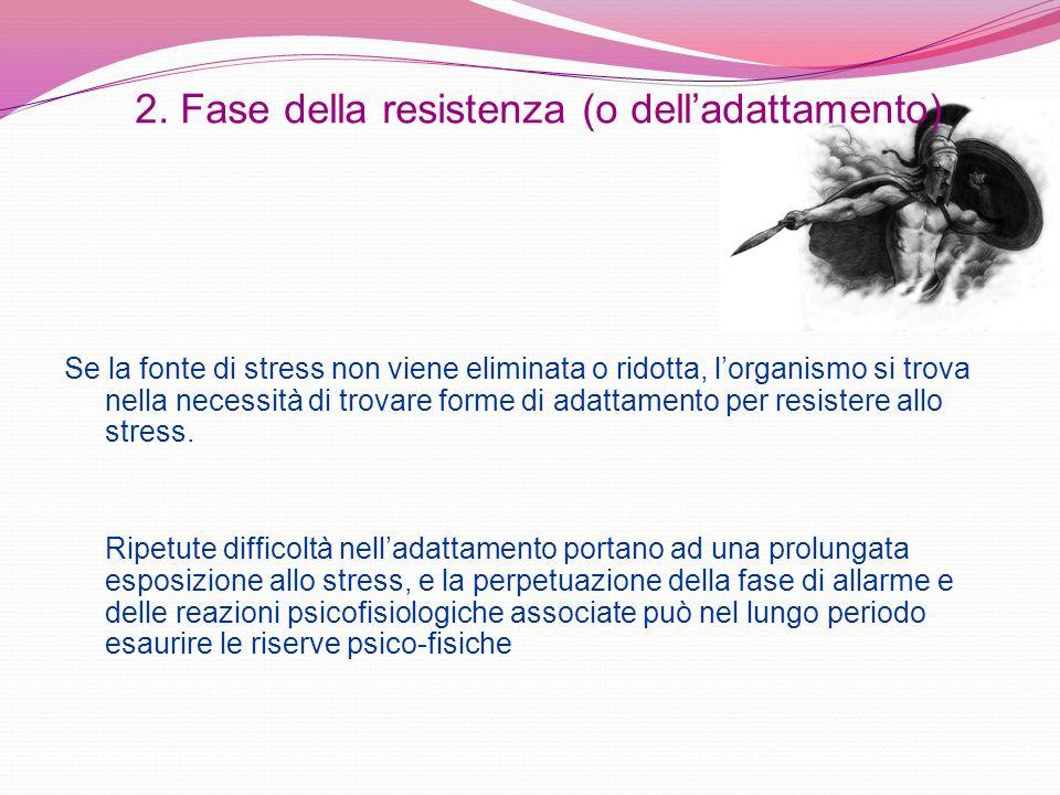 2. Fase della resistenza (o delladattamento) Se la fonte di stress non viene eliminata o ridotta, lorganismo si trova nella necessità di trovare forme