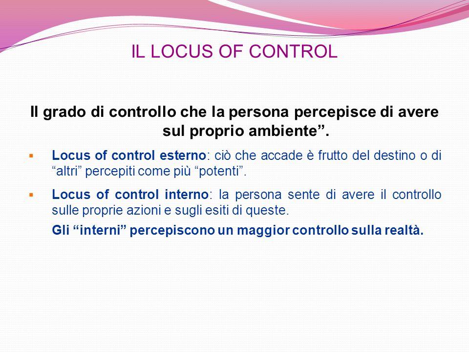 IL LOCUS OF CONTROL Il grado di controllo che la persona percepisce di avere sul proprio ambiente. Locus of control esterno: ciò che accade è frutto d