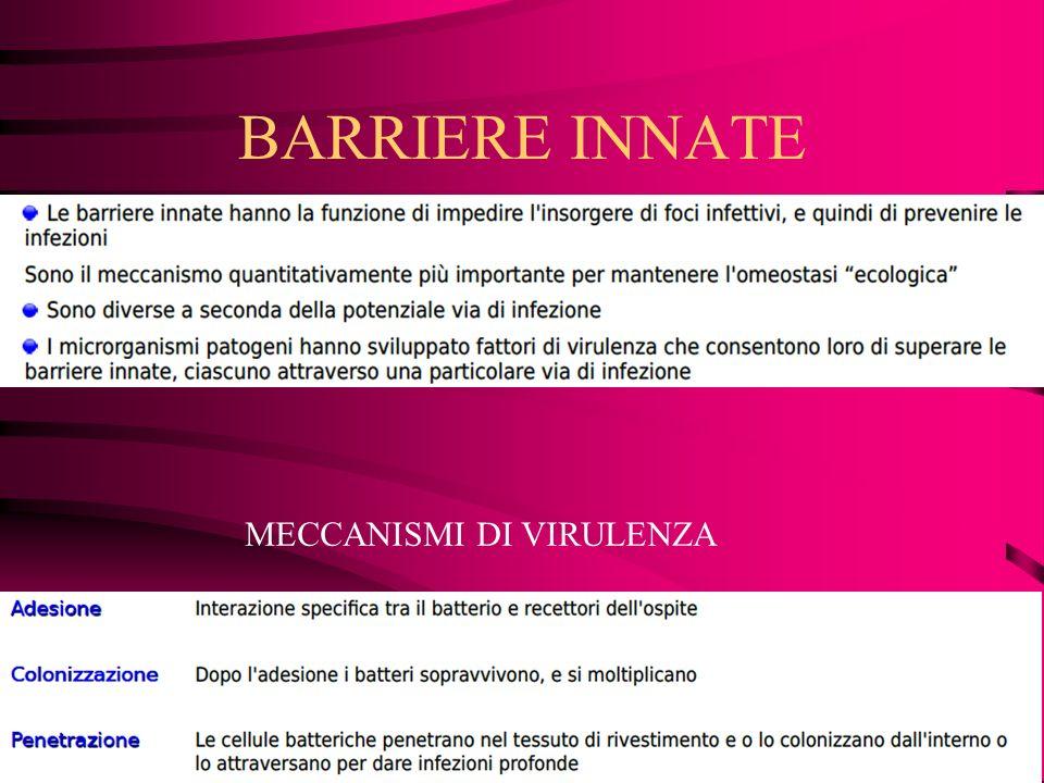 BARRIERE INNATE MECCANISMI DI VIRULENZA